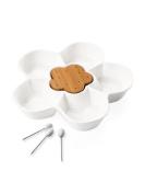 Brandani 56917 Flower-Shaped Appetiser Dish with 5 Picks Porcelain Bamboo