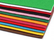 Decorative Felt, Craft Felt, Size 20 x 30 cm A4, Thickness 1.5 – 2 mm, Pack of 12 Sheets, Mixed Colours