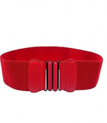Kelaina Fashion PU Leather Women Ladies Wide Elastic Buckle Waist Belt