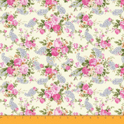 Soimoi 105 GSM Floral & Paisley Printed Poly Satin Sewing Fabric 110cm Inches Wide By The Metre - Beige