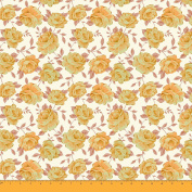 Soimoi 110cm Inches Wide Rose Floral Print 130 GSM Moss Georgette Fabric For Sewing By The Metre - Golden Yellow
