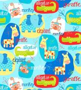Swingin' Safari Cotton Fabric - Blue - Studio E - 1/2 Mtr