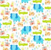 Swingin' Safari Cotton Fabric - White - Studio E - 1/2 Mtr