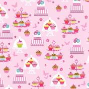 Cupcake Cafe Cotton Fabric - Cake Stand - Pink Studio E - 1/2 Mtr