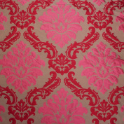 RED & GOLD DAMASK CURTAIN CUSHION BLIND SOFA MATERIAL UPHOLSTERY FABRIC