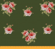 Soimoi 130 GSM Moss Georgette 110cm Inches Wide Floral Printed Sewing Fabric By The Metre - Green