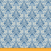 Soimoi 105 GSM Floral Damask Printed 110cm Wide Poly Satin Sewing Fabric By The Metre - Blue