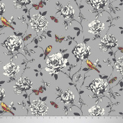 Soimoi 110cm Inches Wide Bird & Floral Printed Moss Georgette Fabric For Sewing 130 GSM By The Metre - Grey