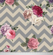 Soimoi 110cm Inches Wide 105 GSM Poly Satin Chevron Floral Printed Sewing Fabric By The Metre - Grey and Cream
