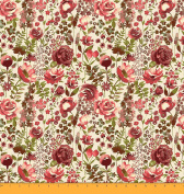 Soimoi 110cm Inches Wide 105 GSM Poly Satin Rose Floral Printed Designer Fabrics By The Metre - Maroon