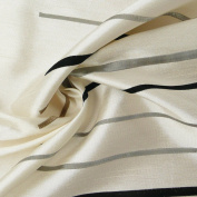 Rasch Curtain Decorative Fabric Silk Look Embroidery Fabric By the Metre Reflection Stripes Grey Cream 150 cm
