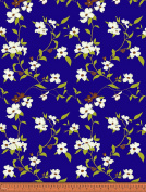 Soimoi Floral Printed 130 GSM Moss Georgette Fabric By The Metre 110cm Inches Wide - Royal Blue
