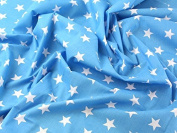 1m | Turquoise Polycotton With White Stars Quality Fabric . 25mm Stars Japanese Qkt 4000 Poly Cotton Material Kingfisher Light Blue Colour Colour Dressmaking Shirts Clothes Crafts Turq