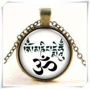 White Om Yoga Zen Buddhism Meditation Glass Photo Art Pendant Chain Necklace