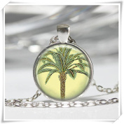 Palm Tree Necklace Tropical Nature Jewellery Art Pendant in Bronze or Silver with Link