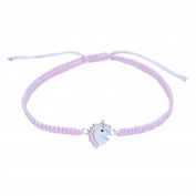 Sterling Silver Unicorn Bracelet on Pink Cord - Pink