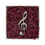 "Fine Pewter ""Musical Treble Clef"" Brooch, Handcast By William Sturt"