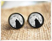 wolf cuff links ,full moon cuff links, Men accessories