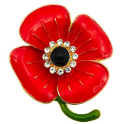 NEW FAB RED FLOWER PIN ENAMEL DIAMANTE CRYSTAL GOLD PLATED BROOCH