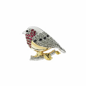 Anderson & Webb Red Ruby Robin Silver Brooch Gold Plated Detail and Gold Plated Earrings