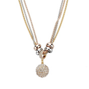 Long Way Women's Gold Silver Rose Gold Long Chain Crystal Full Rhinestone Ball Drop Pendant Necklace