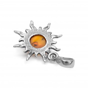 Amber Sterling Silver Sun Pendant