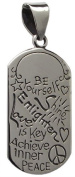 LOVE PEACE PENDANT Inspirational Affirmation 925 Sterling SILVER 40mm Drop NEW - Dog Tag