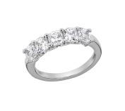 Myia Passiello Platinum Plated Sterling Silver Cushion Cut Zirconia 3 Stone Anniversary Ring