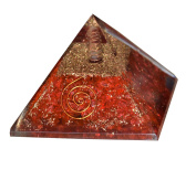 Aatm Reiki Energised chakra healing Red Orgone Pyramid With Clear Crystal Gemstone Copper Metal / EMF Protection Meditation Yoga Energy Generator