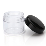 3 Gramme/ 3ml Round Plastic Empty Cosmetics Jar With Screw Black Caps for Sample Sstorage and Travel