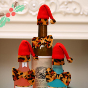 Lovely Bowtie Christmas Hat Leopard Wine Bottle Cover Xmas Party Table Decor Amesii