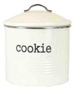 Home Basics Tin Cookie Jar, Ribbed Design, Ivory, 19cm x 19cm