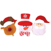 Zhhlaixing 3pcs Santa Claus Snowman Elk Dinnerware Cover Creative Xmas Knife and Fork Tableware Bag Decor