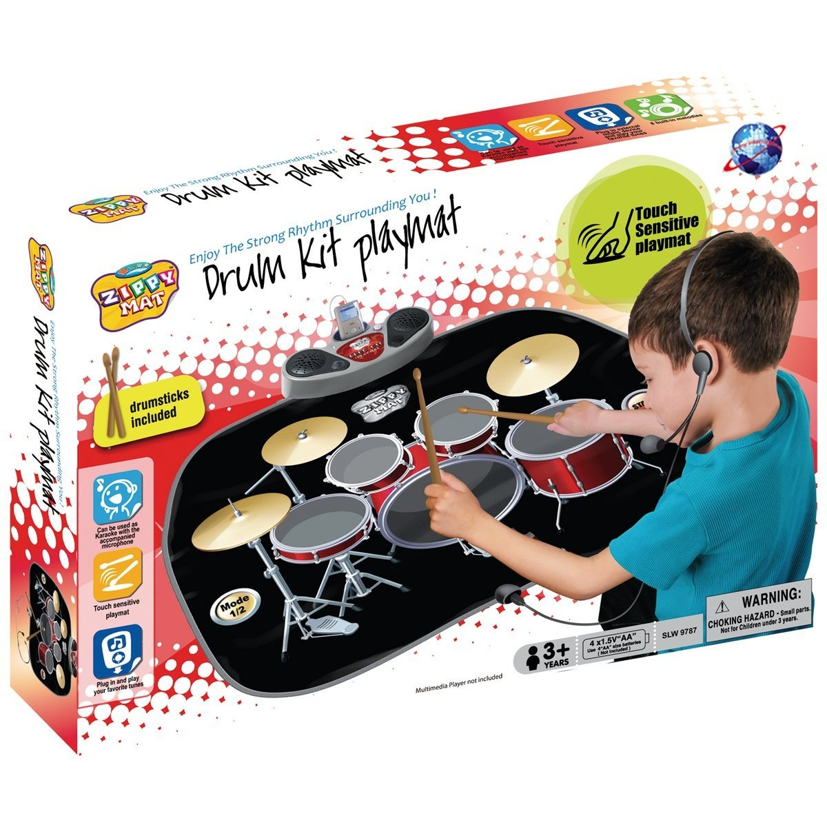 Children Kids Electronic Drum Kit Stick Musical Touch Playmat Toy for Fun &  Drumming Play Sound Music MP3