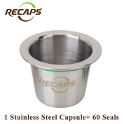 Nespresso Capsules (1 pod +60 seals) Refillable Stainless Steel Refilling Reusable Coffee Capsules Compatible Nespresso Capsule