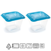 Set of 2 Containers hermeticos Square with Blue Lid 1.7 Litres – BPA Free.