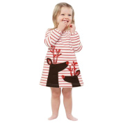Xmas Baby Girls Striped Dress , YOYOUG Toddler Kids Baby Girls Deer Striped Princess Dress Christmas Outfits Clothes