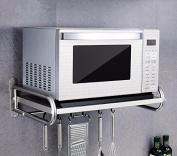 lzzfw Kitchen Racks Microwave Oven Floor Stainless Steel Pot Rack Kitchen Supplies Storage Rack, 58Cm