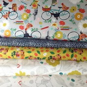 BIRDS GARDEN BIKE FABRIC BUNDLE - Birds Bikes Gold BLEFB043 - 4 Fat Quarters each 55 cm x 50 cm - by Blend Fabrics - 100% Cotton