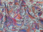 Paisley Print Polyester Chiffon Dress Fabric Mint Green - per metre