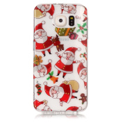 Galaxy S6 Case, Samsung Galaxy S6 Tpu Cover, Edaroo Beautiful Xmas Merry Christmas Series Ultra Slim Thin Transparent Clear with Pattern Soft Flexible TPU Gel Silicone Crystal Backcase Cover case for Samsung Galaxy S6 - Red Deer Green Tree