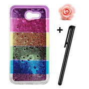 Galaxy J3 Prime Glitter Case,Samsung Galaxy J3 Prime Case,TOYYM Ultra Slim Creative Rainbow Pattern Design Bling Diamond Clear Soft Silicone Gel TPU Back Case Cover with Shiny Sparkle Quicksand,Glitter Crystal Transparent Bumper Protective Case Cover f ..