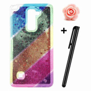LG G Stylo 2 LS775 Glitter Case,LG Stylus 2 Case,TOYYM Ultra Slim Creative Rainbow Pattern Design Bling Diamond Clear Soft Silicone Gel TPU Back Case Cover with Shiny Sparkle Quicksand,Glitter Crystal Transparent Bumper Protective Case Cover for LG G S ..