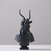 Country Dark Grey Female Antelope Bust And Male Goat Bust Resin Process Decoration