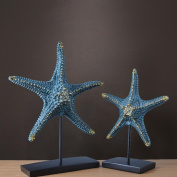Modern simple blue starfish living room restaurant decorations offering a pair