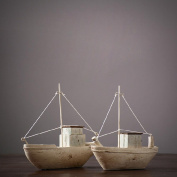 Pure Handmade Resin Small Wooden Boat Creative Soft Decoration Home Craft a Pair