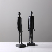 Handmade Simulation African Black Male And Female Resin Creative Decoration Craft A Pair