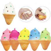 Squeeze Toys, OverDose 1PC Fun Ice Cream Stress Relief Slow Rising Toy Gift for Children and Adult Random Colour