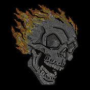 Rhinestone Fire Skull Totenkopf Bügelbild Diamond Skeleton