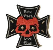 Bügelbild Skull Ride Hard Live Free with Nailheads